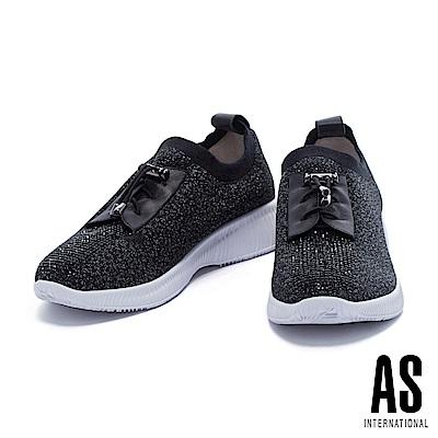 休閒鞋 AS 華麗時髦銀蔥彈力厚底休閒鞋-黑