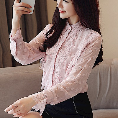 氣質粉色繡花蕾絲花邊長袖襯衫S-2XL-白色戀人
