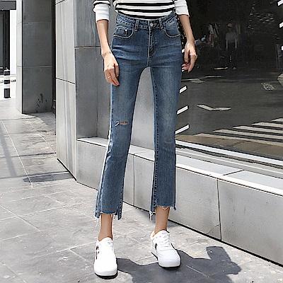 ALLK 抓鬚9分牛仔褲 藍色(尺寸27-31腰)