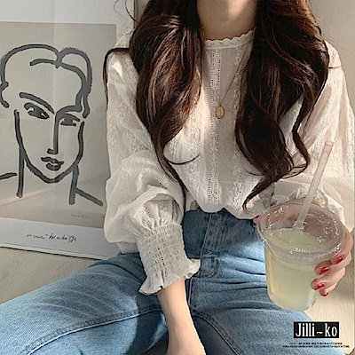 Jilli-ko 韓版甜美蕾絲燈籠袖襯衫- 白