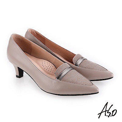 A.S.O 義式簡約 俐落都會女性真皮高跟鞋 灰