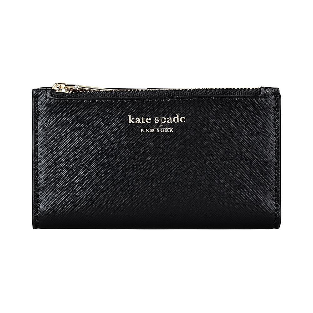 Kate Spade Spencer金字LOGO牛皮6卡扣式零錢包(黑)