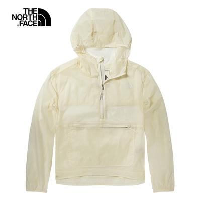 The North Face北面女款米白色防風防潑水可打包連帽外套 5B3ON3N