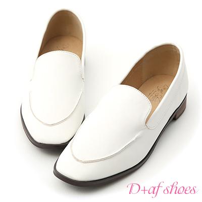 D+AF 優質嚴選.簡約小方頭平底樂福鞋*白