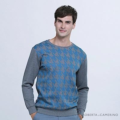ROBERTA諾貝達 台灣製 千鳥格紋圓領長袖POLO棉衫RBE63-95灰藍