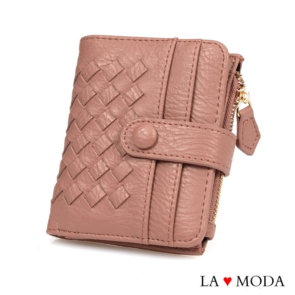 La Moda 流行時尚編織面料多卡位大容量拉鍊零錢中短夾(六色) product image 1