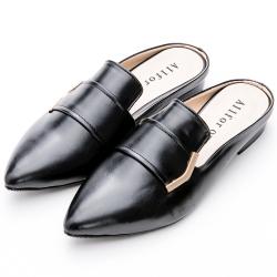 River&Moon穆勒-簡約金飾尖頭穆勒低跟鞋 黑