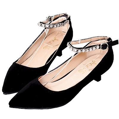 Ann'S閃耀之星-可拆鑽石繫帶尖頭低跟鞋-黑