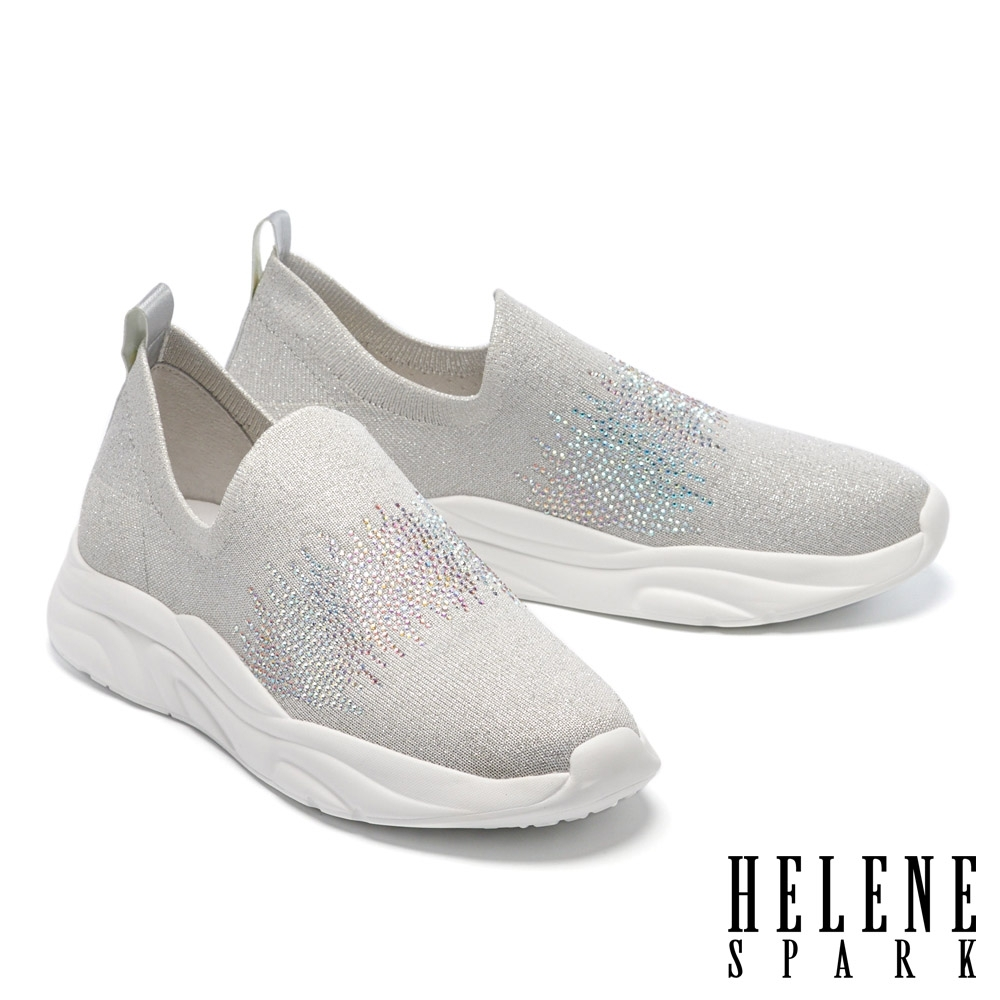 休閒鞋 HELENE SPARK 經典簡約晶鑽銀蔥飛織厚底休閒鞋-灰