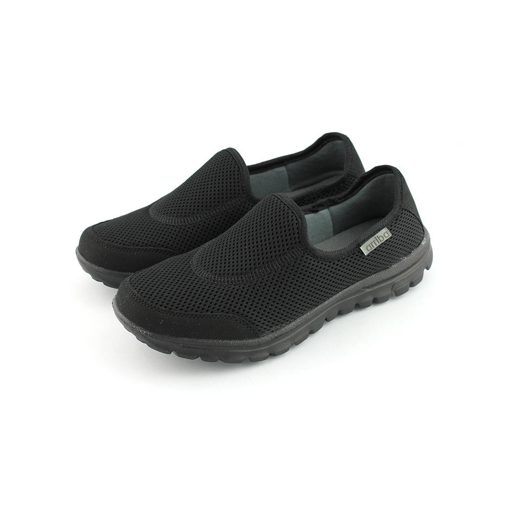 ARRIBA艾樂跑女鞋-透氣網布懶人鞋-全黑(FA480)