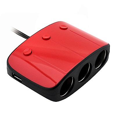 日本Willcom 2孔USB+3孔電源插座(附開關/紅)