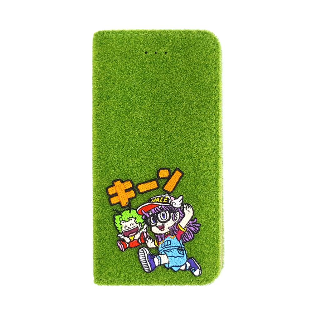Shibaful iPhone 8/7 怪博士與機器娃娃 刺繡 草皮側翻 殼套