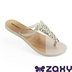 Zaxy 巴西 女 清新璀璨夾腳拖鞋-金色