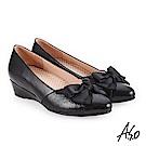 A.S.O 美型對策 舒適耐穿楔型鞋 黑