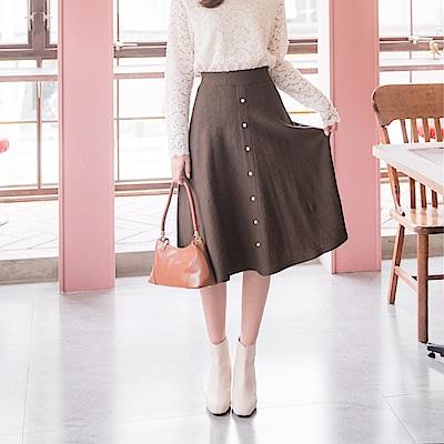 鬆緊腰頭純色造型珍珠點綴包芯紗A字中長裙-OB大尺碼