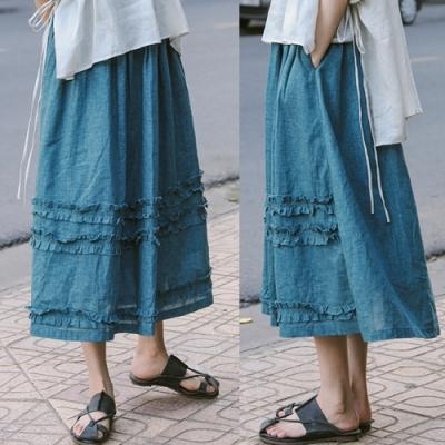 雀藍色滾邊A字裙中長版棉麻寬鬆復古-設計所在