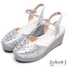 DIANA 夢幻狂想曲-花漾率性丹寧交叉綁帶楔型鞋-銀