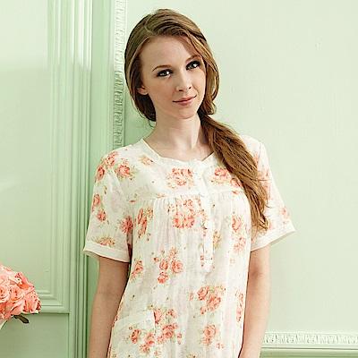 羅絲美睡衣 -心戀可人短袖洋裝睡衣(橘紅花)