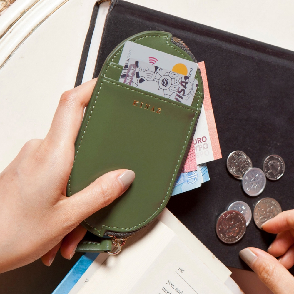 KINAZ 真皮橢圓卡片萬用零錢包-芥藍綠元素-小物魔法系列-快
