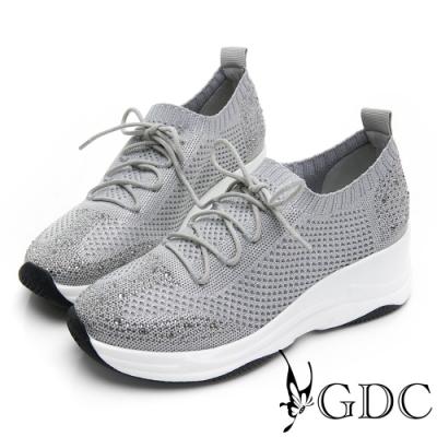 GDC-飛織時尚流線感綁帶運動厚底休閒鞋-灰色