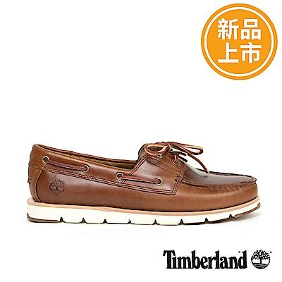 Timberland 女款咖啡色皮革CAMDEN FALLS帆船鞋