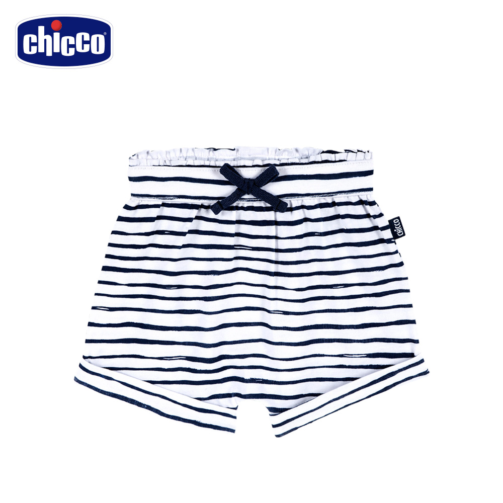 chicco-To Be Baby-抽摺反折短褲-條紋