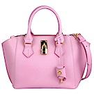SamanthaThavasa 粉紅色荔枝紋真皮三層扇型斜背/手提包