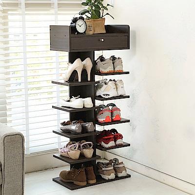 澄境 直立式6層開放附花台收納鞋架/鞋櫃40x24x97.5-DIY