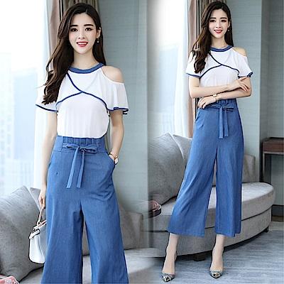 DABI 韓國風俏皮小清新夏天露肩寬口褲套裝短袖褲裝
