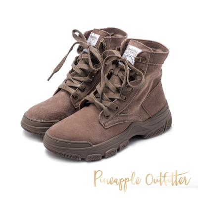 Pineapple Outfitter 仿舊風格絨面綁帶中筒馬汀靴-咖啡