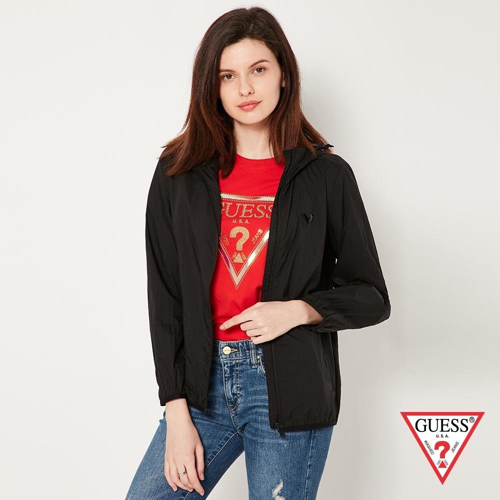 GUESS-女裝-防風休閒連帽外套-黑 原價5490