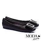 平底鞋 MODA Luxury 柔美雅緻璀璨白鑽方飾釦真皮方頭平底鞋-黑