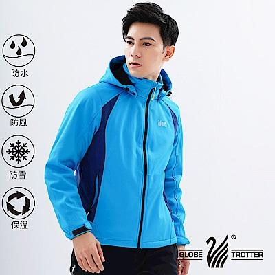 【遊遍天下】男款GlobeTex防水透濕防風刷毛軟殼外套GJ23006水藍