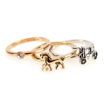 COACH 經典馬車LOGO水鑽三色三環戒指