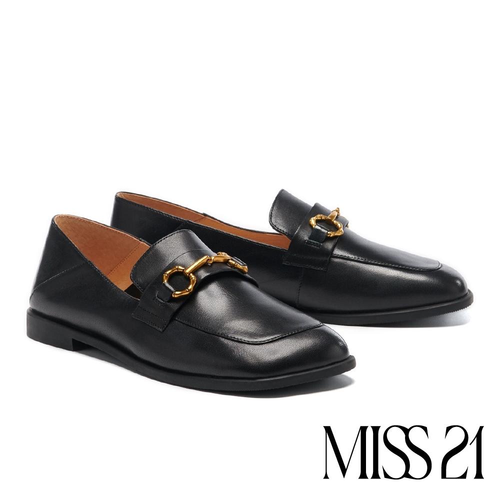 低跟鞋 MISS 21 復古質感馬銜釦歪頭大方楦樂福低跟鞋-黑