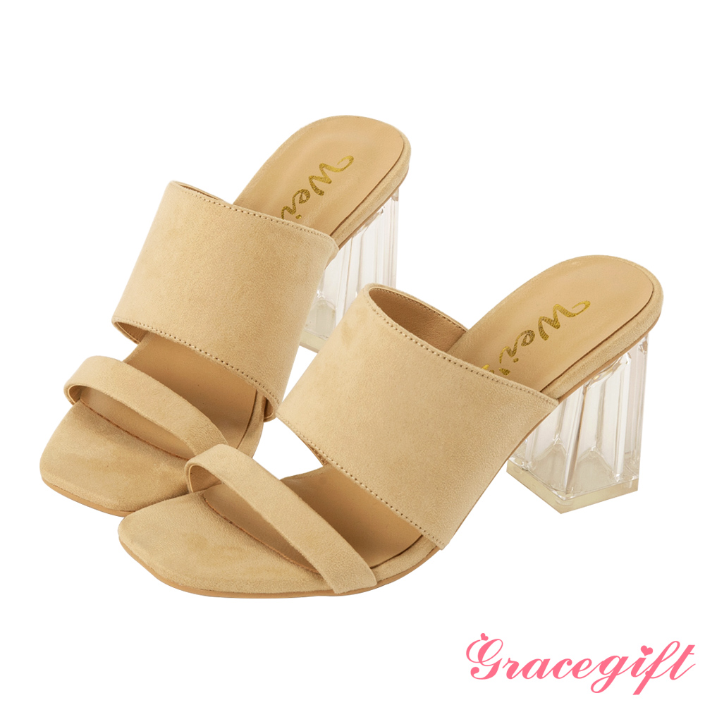 Grace gift X Wei-聯名素面寬帶透明高跟涼鞋 杏