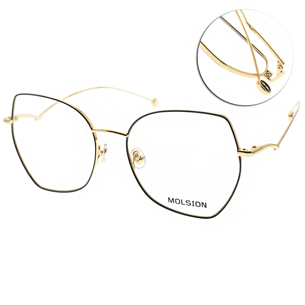 MOLSION 光學眼鏡 Angelababy代言 多邊細框款/黑-金#MJ7107 B12