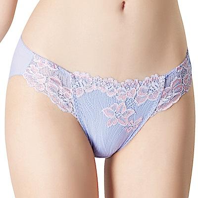 思薇爾 花遊季系列M-XXL蕾絲中低腰三角內褲(蘭花紫)