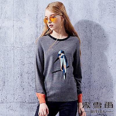 【麥雪爾】風采緹花水鳥保暖羊毛針織上衣