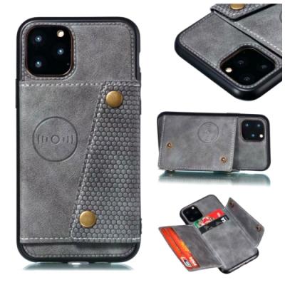 PKG Apple iPhone11 Pro Max (6.5吋)皮套-後翻可插卡-時尚灰