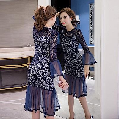 DABI 韓系時尚魚尾蕾絲包臀網紗拼接顯瘦氣質長袖洋裝