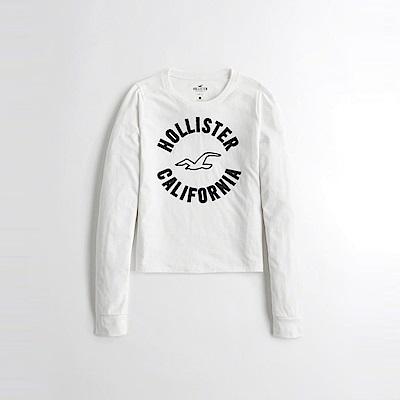 海鷗 Hollister 經典刺繡大海鷗文字長袖T恤(女)-白色