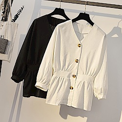 IMStyle 收腰百搭V領襯衫(白色、黑色)