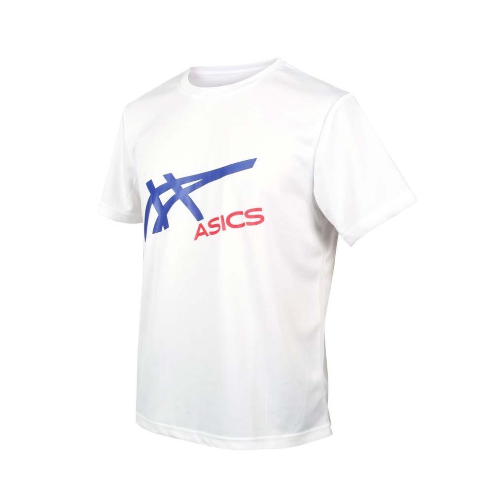 ASICS 男短袖T恤-亞瑟士 慢跑 路跑 吸濕排汗 2033B106-100 白藍紅