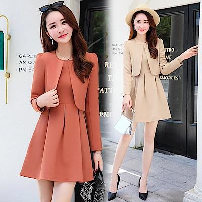 質感短版外套搭無袖洋裝裙套裝M~2XL(共三色)-SZ