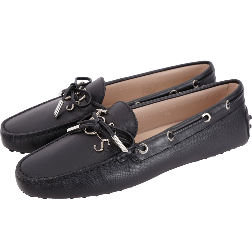 TOD'S Gommino 新版字母防刮牛皮休閒豆豆鞋(女鞋/黑色)