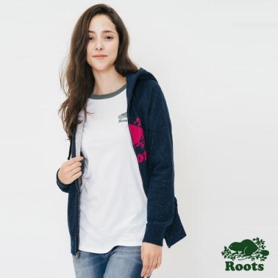 女裝Roots-結粒紗刷毛連帽外套-藍