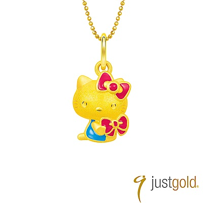 鎮金店Just Gold Ribbon Love純金系列 黃金墜子-Kitty