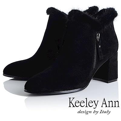 Keeley Ann 完美顯瘦~V型貂毛滾邊粗跟短靴(黑色-Ann)
