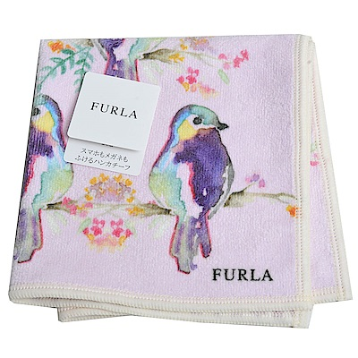 FURLA  品牌動物畫布風格小方巾(青鳥)
